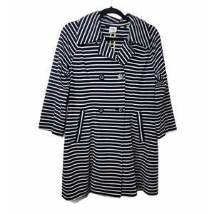 Cabi Maritime striped double breasted trench coat